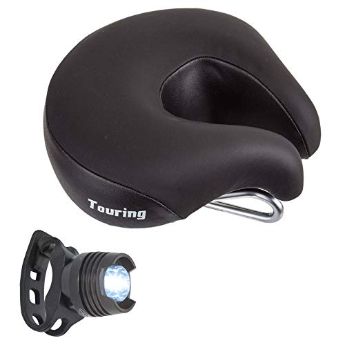 ISM Touring Saddle, Hybrid Commuter Bike Seat, Foam Padding Bundle with a Lumintrail Red Bike Taillight