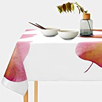 Mskyoo テーブルクロス ピンク葉 かわいい 撥水 北欧 耐熱 テーブルカバー 食卓カバー テーブルマット 汚れ防止 防油 洗える インテリア 食事用 正方形 長方形 家庭用 レストラン用 183x140cm