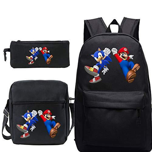 XINHANG Sonic The Hedgehog Backpack 3pcs/lot Super Maro Bros Women Mens Backpack Sets For Teenage Sonic Girls Boys School Laptop Travel Bagpack With Pen Bag Shoulder Bag