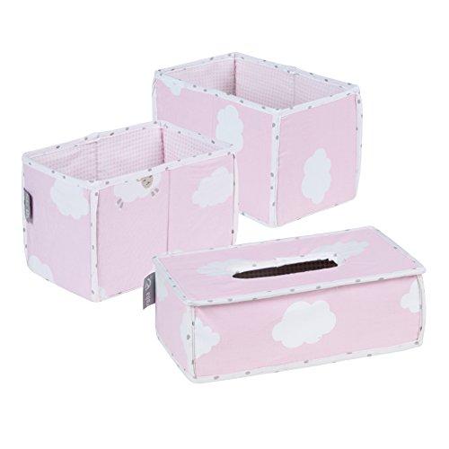 roba Pflege Organiser Set 'Kleine Wolke rosa', 3tlg, Aufbewahrungsbox Set, 2 Boxen für Windeln & Wickelzubehör, 1 Dekobox für Feuchttücher, Babyzimmer Deko