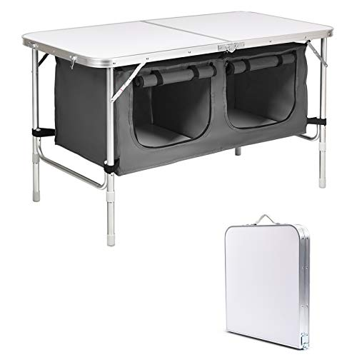 COSTWAY Folding Camping Table with Carrying Handle, Height Adjustable Storage Compartments Cabinet, Outdoor Garden Patio Kitchen Portable Picnic BBQ Table