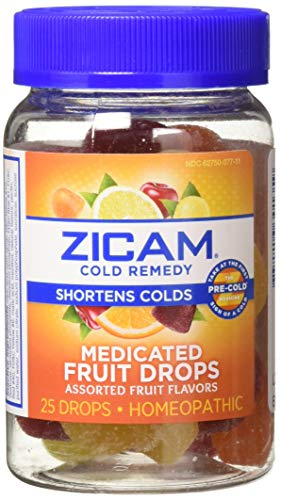 Zicam Cold Remedy Medicated Fruit Drops, Assorted Fruit, Homeopathic Cold Remedy, Clinically Proven to Shorten Colds When Taken at The First Sign of Symptoms, 25 Count (Pack of 2)