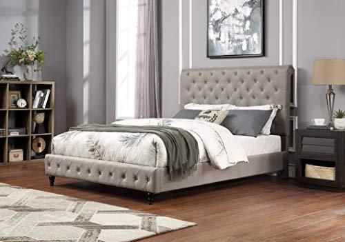 Best Master Furniture Kathy Upholstered Fabric Platform Bed, Cal. King, Grey