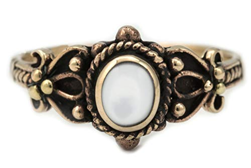 WINDALF Mittelalter Ring SHEELA h: 0.9 cm Perlmutt Edle Bronze (Bronze, 56 (17.8))