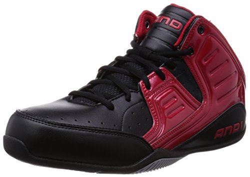 AND1 Herren Rocket 4 MID Basketballschuhe, Schwarz (Red/Black-Silver), 44 EU