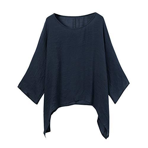 iHENGH Womens Ladies Casual Plus Size Loose Cotton Linen Solid Color Tops Shirt Blouse(Marine, M)