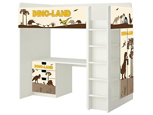 Dinosaurier Aufkleber - SH03 - passend für die Kinderzimmer Hochbett-Kombination STUVA von IKEA - Bestehend aus Hochbett, Kommode (3 Fächer), Kleiderschrank und Schreibtisch - Möbel Nicht Inklusive | STIKKIPIX