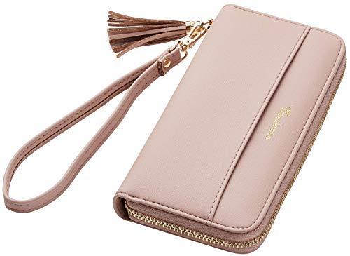 Travelambo Womens Wallet Tassel Bifold Ladies Cluth Wristlet Wrist strap Long Purse (Access Pink Champagne)