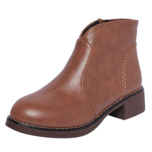 WHSHINE Chelsea Boots Ankle Short Booties für Damen, Mädchen Low Chunky Heel School Schuhe Casual Oxfords