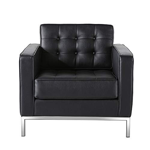 WGYDREAM Sofa Single Seat Chair Black PU Leather Leisure Couch Recliner Armchair Modern Lounge Sofa For Bedroom Living Room Office