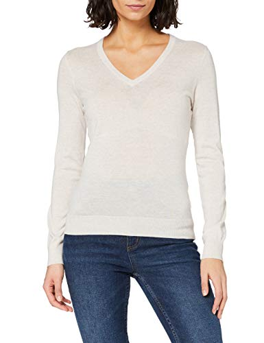 Amazon-Marke: MERAKI Merino Pullover Damen mit V-Ausschnitt, Beige (Oatmeal), 40, Label: L