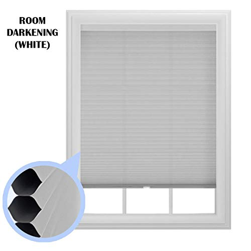 The Miro Brand, 36' x 64' Room Darkening Cellular Window Shade, Cordless, Trimmable (White)