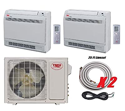 YMGI Two Zone - 21000 BTU Dual 2 Zone 9000+12000 Floor Mount Ductless Mini Split Air Conditioner Heat Pump with 25 Ft Lineset Installation Kits