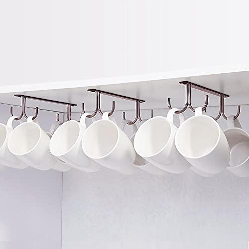 XKMY Soporte para tazas debajo del gabinete, soporte para tazas de café, 12 ganchos debajo del estante, soporte para colgar tazas de secado para bar, cocina, color blanco (color: marrón)