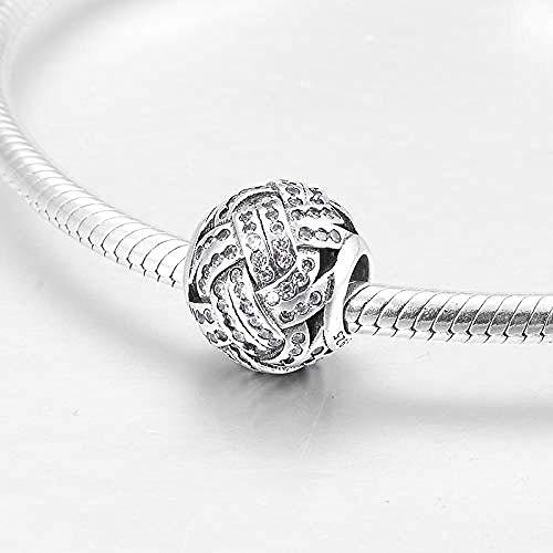Zilveren Kralen Bedels,Ronde Vorm Mode 925 Sterling Zilver Charmante Liefde Knoop Fijne Kraal Charme Bedelarmband Sieraden Cadeau