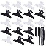 Pinces à cheveux et barrettes à pince à cheveux papillon 18 pièces pour salon de coiffure professionnel avec peignes (noir, blanc)