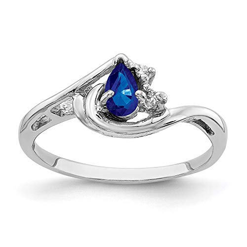 14k White Gold 5x3mm Pear Sapphire and Diamond Ring, Size 6