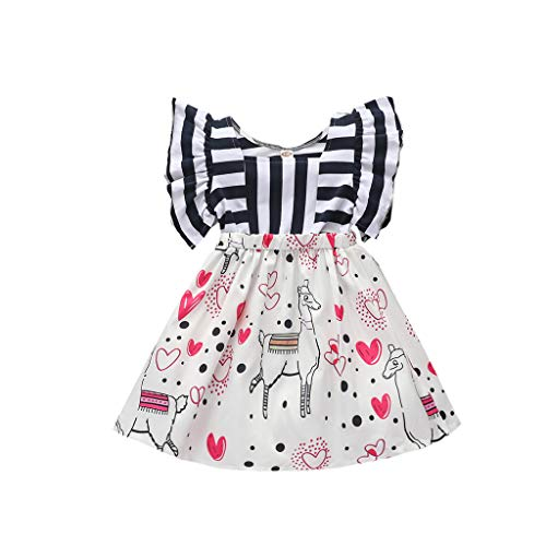 Prinzessin Kleid Baby Mädchen Sommerkleid Streifen Flying Ärmel Nähen Cartoon Liebeskleid Kleidung, Schwarz, 2-3 Jahre