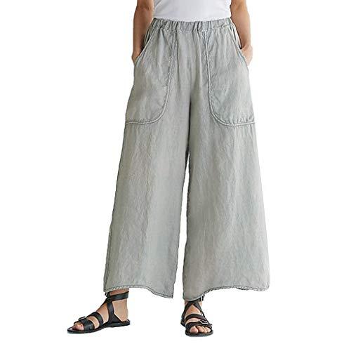 Auiyut Frauen beiläufige lose Hosen Sommerhose lang Weite Hose Palazzo mit Eingrifftaschen Schlabberhose hohe Taillen-Hosen-Taschen beiläufige Strand-Hosen Baggy Sommerhose