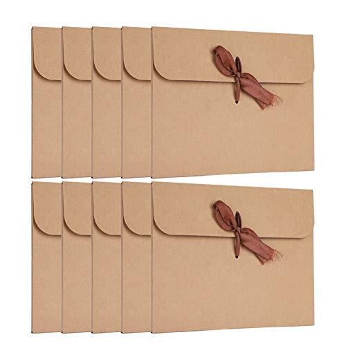 Grußkarte mit Schleife 10 Stück Glückwunschkarte Set Vintage Geschenkkarte Kraftpapier Einladungsumschlag Klappkarte Braun Einladungskarte Karte für Geschenk Einladung Geburtstag Feiertag