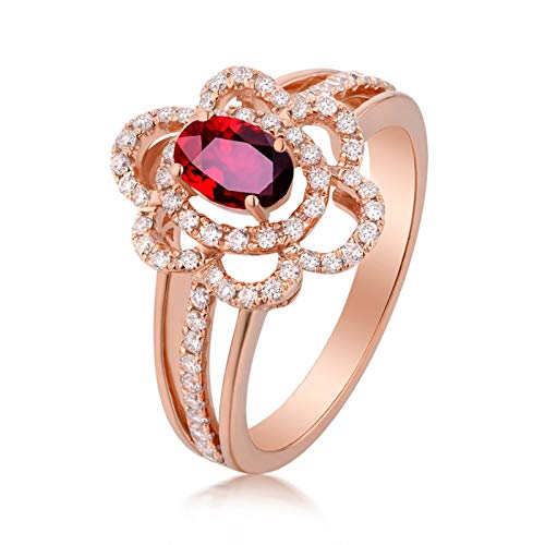 AYDOME Engagement Ring for Woman, 1.2ct Ruby Hollow Flower Oval Diamond 18K Rose Gold Red Women M 1/2