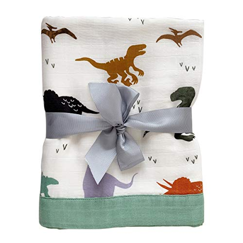 OYRGCIK Baby Swaddle Blanket, Muslin Swaddle Blankets 4 Layers Soft Swaddle Wrap Unisex Receiving Blankets 70% Bamboo 30% Cotton Baby Blankets for Boys Girls Toddler, Dinosaur