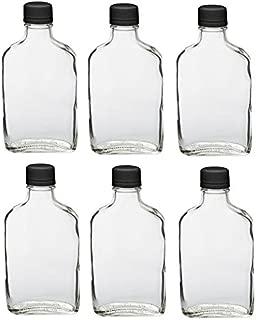 Nakpunar 6 pcs Glass Flask Bottles with Black Tamper Evident Cap - 200 ml