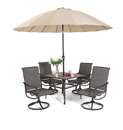 Sophia & William Patio Dining Set 6 Pieces with 10 ft Umbrella, 1x Square 37'x 37' Dining Table, 4 Swivel Chairs Furniture Set for Outdoor Garden Lawn Pool