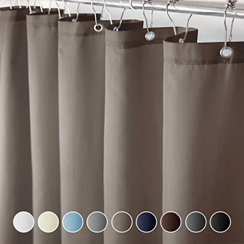 Eforcurtain Duschvorhang, extra lang, moderner Stil, schimmelresistent, 183 x 198 cm, mit Kunststoffhaken, dunkelbraun, einfarbiges Muster, Duschvorhänge, wasserabweisender Stoff, langlebig für Hotels