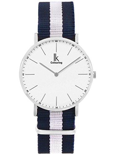 Alienwork Damen Herren Armbanduhr Quarz Silber mit NATO-Armband blau Ultra-flach Slim-Uhr