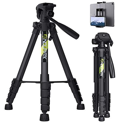 Endurax 167 cm Trípode de cámara de vídeo para Canon Nikon Sony Aluminio Ligero Soporte de cámara DSLR con Soporte Universal para Smartphone y Bolsa de Transporte(Negro)