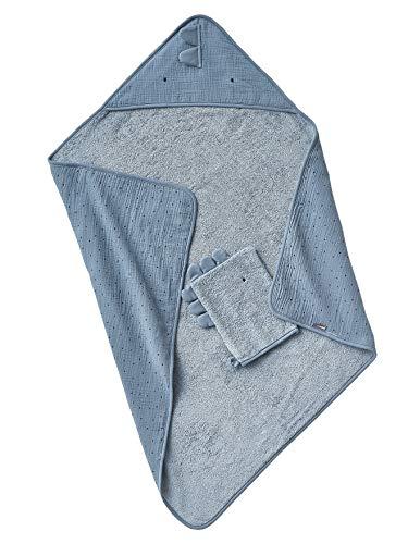 Vertbaudet - Capa de baño para bebé (gasa de algodón + manopla de baño, tamaño pequeño, 100 x 100 cm), color azul