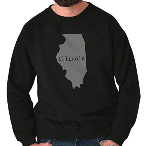 Classic Teaze Illinois State Map Shape Souvenir IL Pride Womens Mens Crew Sweatshirt Black
