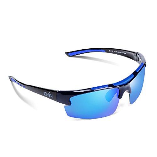 Ewin E52 Gafas de Sol de Deporte Polarizadas, TR62 Marco Irrompible, UV400 Protección, Gafas por Hombres y Mujeres, Golf, Ciclismo, Conducir, Pesca, Correr y Otras Actividades al Aire Libre (Negra y Azul)