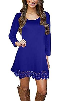 Afibi Women's Long Sleeve A-Line Lace Stitching Trim Casual Dress