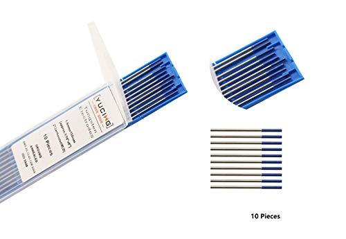 Rouge 150mm 10 pi/èces par Paquet 2,4mm TEN-HIGH Soudage TIG Electrodes de Tungst/ène avec 2/% de Thorium WT20
