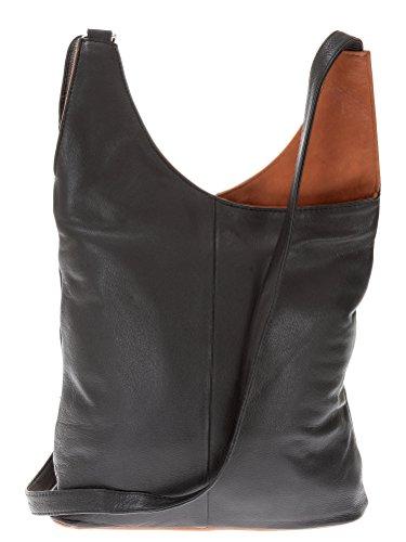 Cinino Ledertasche Umhänger 2-COLOR Handtasche Leder +Etui (Black/Brown)