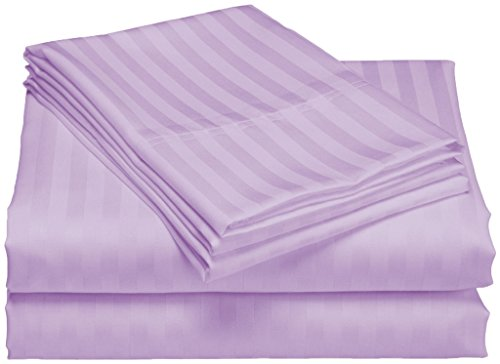 Scala Bedding Egyptian Cotton 800 Thread Count 25 Inch Deep Pocket Fitted Sheet and Pillowcases Set - Queen Lavender Stripe