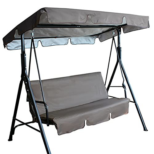 Balcón Impermeable Kit de Cubierta de toldo de balcón, reemplazo de Cubierta de Asiento de Swing de 2 Personas, 142 * 120 * 18 cm (Negro)