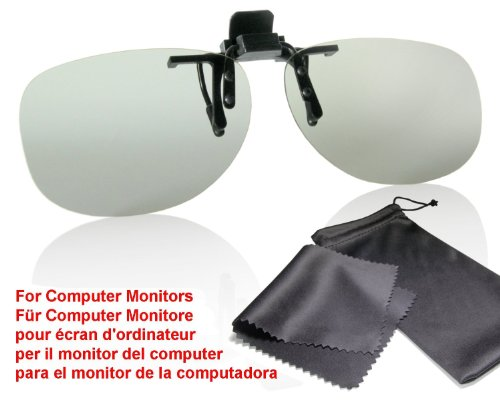 SJ3D Passive 3D Brille - 3D Brillen Monitor Clip, Aufsatz für Brillenträger - Passive Polfilterbrillen – Für LG Cinema 3D MONITORE (keine Fernseher!) bitte Kompatibilitätsliste beachten - Inkl. Mikrofaser Brillenbeutel und Putztuch