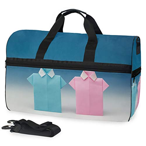 Origami-Hemden Large Travel Duffel Tote Bag Weekend Overnight Travel Bag Gym Bag Fitness Sports Bag with Shoes Compartment