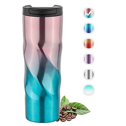 HomeyMosaic Thermobecher Kaffeebecher to go Trinkbecher mit Strohhalm Edelstahl Isolierbecher Coffee to go Becher Travel Mug 500 ml (Pink/Blau)