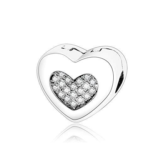 Pandora 925 Charm Silver Beads Charm Dangle Women Fit Original Pulseras Collares Steady Heart Stopper Clip Diy Accesorios