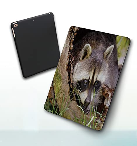 iPad 5./6. Generation shell,iPad 9.7 2018/2017,Raccoon Cute Animal Stand on Tree Branch, Double-fold Stand with Shockproof TPU Back Cover, Auto Wake/Sleep
