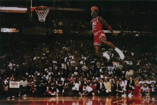 Hotsuff Michael Jordan Poster Print Flying Dunk from Free Throw Foul Line 24'x36'