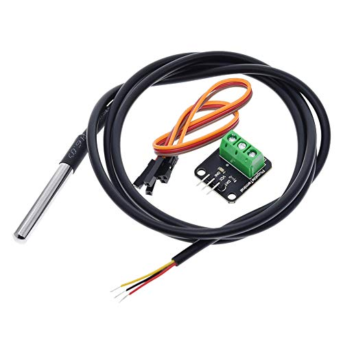 DS18B20 Temperature Sensor Module Kit Waterproof with 100cm Digital Sensor Cable Stainless Steel Probe for Arduino