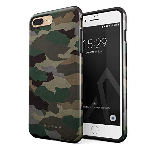 BURGA Cover per iPhone 7 Plus / 8 Plus - Militare Verde Camuffamento Green Camo Camouflage Robusto Resistente agli Urti Ed A Doppio Strato + Custodia Protettiva in Silicone Case