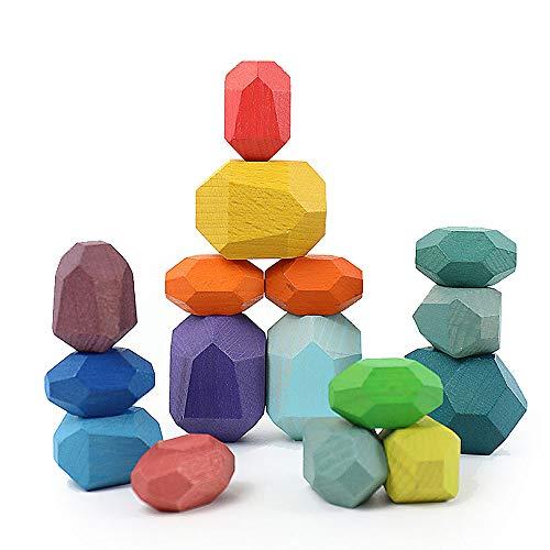 Ytesky Balanciersteine aus Holz Holzbausteine Set Steine Balance Block Farbiger Stein aus Holz Heimdekoration Spielzeug Heilpädagogisches Spielzeug zur Entspannung und Konzentration