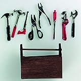 efco–Miniatur Werkzeugkasten mit Werkzeug 5x 4cm 9Teile, Mehrfarbig
