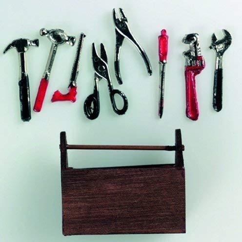 EFCO – miniatuur gereedschapskist met gereedschap 5 x 4 cm 9 delen, meerkleurig